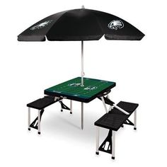 Philadelphia Eagles Portable Picnic Table & Umbrella - Black