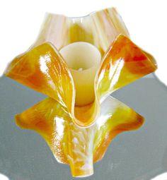 Fused Glass Vase  Shades Of Orange Candle Holder by Chris1 on Etsy, $25.00