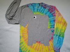 Elephant shirt, elephant trunk sleeve sweatshirt,  elephant t shirt,  Tye Dye, UNISEX adult medium