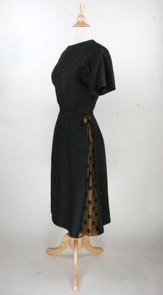 1950s // Polka Dot Peekaboo Dress // Dupioni by VINTAGELOVEbyGIGI
