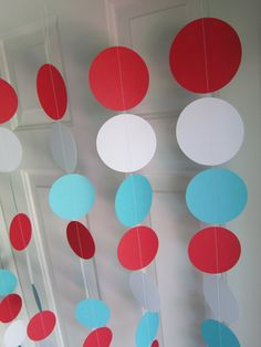 Bridal Shower Decorations Aqua Blue White Red Tissue Pom Pom Garland for Nautical Baby Shower Decorations/Aqua Red Wedding /Dr Seuss Cat in The Hat Birthday Party Supplies/ Airplane Party Decor, 2 Birthday, Dr Seuss Birthday Party, Circus Birthday, First Birthday Parties, Birthday Ideas, Dr Suess Baby, Dr Seuss Baby Shower, Dr. Suess, Circus Party Decorations