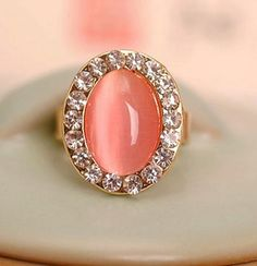 Opal Peach Pink Ring Fashion for Women