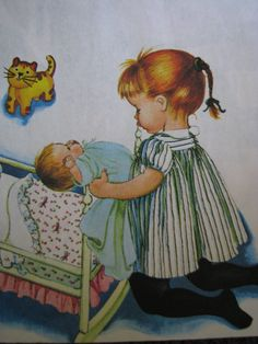 "Illustration from ""Baby Dear"", My baby sleeps in a cradle by Eloise Wilkin, Golden Press, 1962"