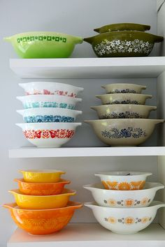 Pyrex bowls -- thrilled to find the set of 4 yellow/orange ones at a thrift store!