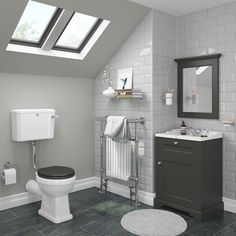 SHOP the Downton Abbey Traditional Charcoal Sink Vanity Unit + Toilet at Victorian Plumbing UK Freestanding Vanity Unit, Sink Vanity Unit, Bathroom Vanity Units, Loft Bathroom, Small Bathroom Storage, Upstairs Bathrooms, Grey Bathrooms, Bathroom Ideas, Bathroom Inspiration