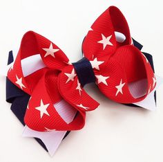 Red, White, and Blue Stars Patriotic Stacked Layered Boutique Hair Bow - Memorial Day Hair Clips - July 4 Hair Bows... Free Shipping Promo