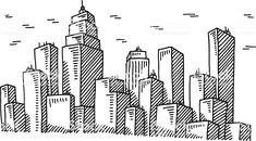 drawing skyline drawn ciudad dibujo ville dessin cityscape sketch istockphoto gran istock libre easy drawings droits building sketches doodle derechos