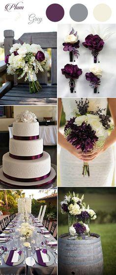 elegant rustic plum,ivory and grey country wedding ideas