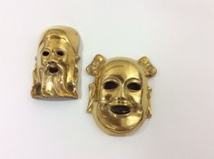 Vintage Brass Masks-Buddha and Confucius Wall by DecorYouWillAdore (just kidding, thought it creepy af)