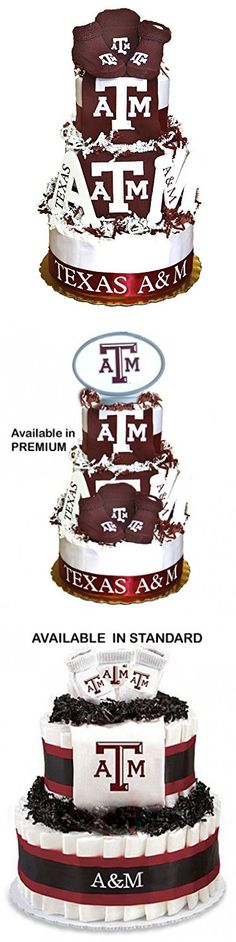 Collegiate Diaper Cakes - Baby Gifts for the Sports Fan--College Themed Diaper Cakes Featuring Your School Logo (Deluxe, Texas A& M)