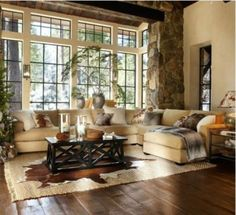 Cozy neutral family room with natural accents. - Decoration for House Home Living Room, Living Room Decor, Living Spaces, Barn Living, Cozy Living, Style At Home, Great Rooms, New Homes, House Design