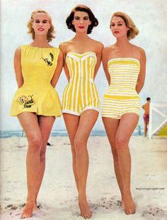 Retro Fashion The bathing suits. So want the middle bathing suit - Pictures of vintage swimsuits, bathing suits, and swimwear. Shop style swimsuits too. Look Retro, Look Vintage, Vintage Beauty, Vintage Yellow, Vintage Grunge, Retro Vintage, Vintage Pins, Vintage Models, French Vintage