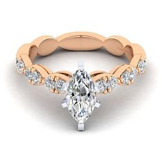 14k Rose Gold Marquise Straight Diamond ENGAGEMENT RING