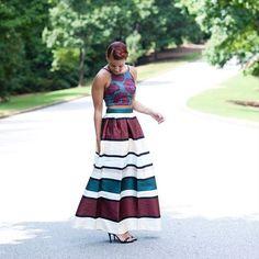 Modest maxi length stripe floor length skirt | Mode-sty #nolayering tznius jewish orthodox pentecostal mormon lds evangelical christian apostolic