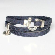 Bracelet cuir femme reptile bleu marine  bleumarine a5a2391d1c9