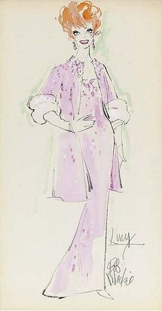 """1965 Two costume designs by Bob Mackie for Lucille Ball, both felt pen and graphite on paper, both signed, the designs executed for Danny Thomas' """"Wonderful World of Burlesque"""", 1965, one showing Lucille Ball in a full-length blue gown with feathered shoulders, the other showing Lucille Ball wearing a pink gown with a matching coat, both"""