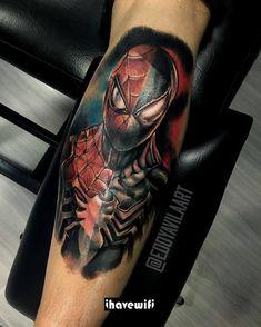 from - Spider-man & the Symbiote suit spelit! Leg Tattoo Men, Leg Tattoos, Arm Tattoo, Body Art Tattoos, Sleeve Tattoos, Cool Tattoos, Tatoos, Spiderman Tattoo, Avengers Tattoo