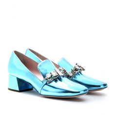Miu Miu Patent Leather Loafers with Block Heel in Blue (cielo) | Lyst