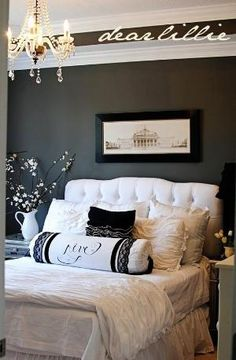 Master Bedroom - How to do Dark Walls and White Bed by HOLLACHE