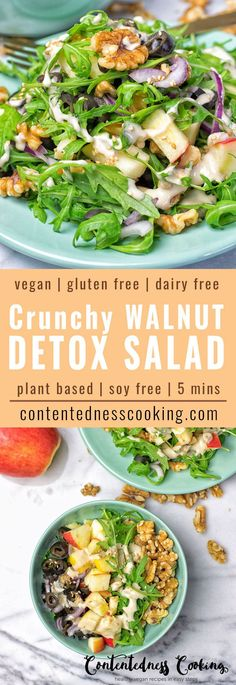 This Crunchy Walnut Detox Salad will truly rock your tastebuds and summer vibes. It's refreshing vegan gluten free and makes an delicious lunch or dinner. Also dairy free soy free and plant based. Healthy Salad Recipes, Diet Recipes, Vegetarian Recipes, Cleanse Recipes, Juice Recipes, Soup Recipes, Superfood, Smoothie Proteine, Quinoa Salat