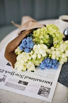 Newspaper and flowers!
