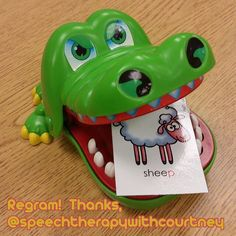 "Thanks for permission to regram, @speechtherapywithcourtney My pre-k kids loved feeding the crocodile while working on final consonants! Lots of laughs. ""Eat sheep"" Poor sheep... This game is the Crocodile Dentist and can be found in several toy stores or on Amazon for about 10 dollars. :) #slpeeps #schoolslp #instaslp @ashaigers #speechtherapy #speechpathology #speechlanguagepathology #speechpath #slp2be #speechies"