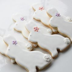 #Easter #Bunny Cookie Gift Box by whippedbakeshop.com $34.50 per set of 6; #shortbread cookie topped with #almond royal icing #Hoppy Easter