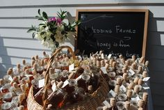 Not talkin about honey for favors, but the chalk board idea is cute as a sign :)