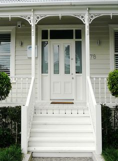 60 trendy Ideas for house front door entrance stairs House Front Door, Weatherboard House, House Front, Entrance Door Design, Stairs, Entrance Doors, Front Door Entrance, Front Stairs, Stairs Colours
