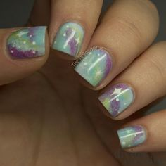 Galaxy Nail Art ~ how-to at Divine Caroline. Love this soft color combination. Simple Nail Designs, Nail Art Designs, Nails Design, Hot Nails, Hair And Nails, Pastel Galaxy, Galaxy Nail Art, Stylish Nails, Fabulous Nails