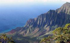 Scarica sfondi costa, oceano, montagna, Kauai, oceano Pacifico, stati UNITI