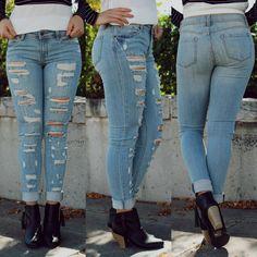 Distressed Light Wash Mid-rise Jeans
