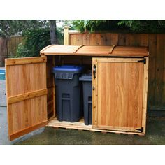 The Oscar Trash Can Storage Shed from Outdoor Living Toady is a great trash bin storage solution. On Sale Today Trash Can Storage Outdoor, Garbage Can Storage, Outdoor Trash Cans, Outdoor Storage Sheds, Outdoor Sheds, Shed Storage, Small Storage, Storage Ideas, Recycling Storage