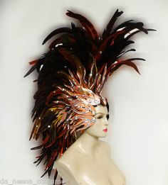 Da NeeNa H043S Feather Vegas Cabaret Pageant Carnival Dance Showgirl Headdress | eBay