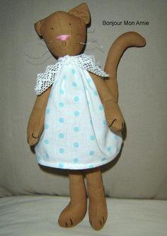 Tilda Cat with Polka Dot Dress
