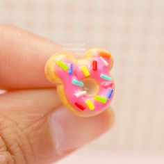 Minnie Pink Donut Ears Post Stud Earrings Polymer Clay Miniature Food Jewelry Handmade by Sweet Clay Creations