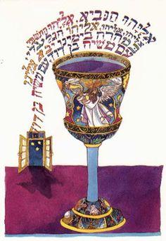 Passover/Pesach Greeting Card - Elijah Cup by Ilene Winn-Lederer Hebrew Prayers, Arte Judaica, Jewish Celebrations, Hebrew School, Jewish Jewelry, Learn Hebrew, Prophetic Art, Shabbat Shalom, Jewish Art