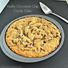 Eggless Vanilla Chocolate Chip Crumb Cake -Soft, spongy cake topped with a sweet and crispy top layer. Serve it on its own or with a side of fruits and some whipped cream Sponge Cake Mix, Vanilla Sponge Cake, Plain Cake, Eggless Baking, Cake Business, Cake Toppings, Whipped Cream, Chocolate, Fruit