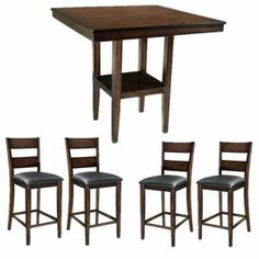 Transitional 5-piece counter-height dining set with a weathered finish and ladder-back, padded chairs.