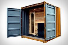 Sauna Box made out of used shipping containers. wood burning stove and solar panels heat it.