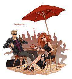 Clint & Natasha - Budapest - hawkeye-and-black-widow Fan Art