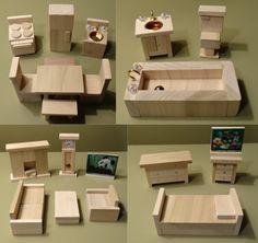 Wooden Dollhouse Furniture Hand Crafted 2013 by upperairs on Etsy, $39.99