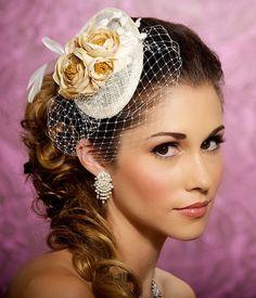 Bridal Hat, Bridal Hair Accessories, Peach Mini Hat with Birdcage Veil, Champagne, Peach, Bridal Headpiece - NATALIE. $78.00, via Etsy.