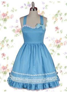 Elegant Halter Sleeveless Empire Knee-length Sweet Lolita Dress With Lace Trim