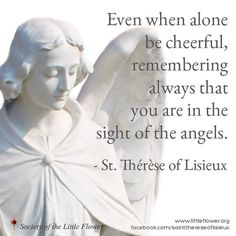 """Even when alone be cheerful, remembering always that you are in the sight of the angels."" - St. Therese of Lisieux"