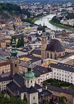 Salzburg on the Salzach River, view from high on the fortress, Festung Hohensalzburg, Austria