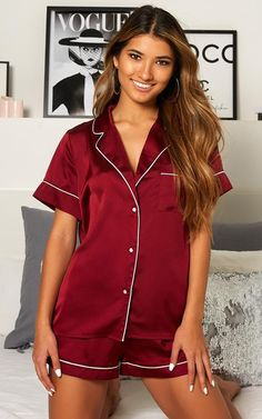 Sleep All Day Top In Wine Satin | Showpo Sleeping All Day, Satin Shorts, Dry Hands, Rompers, Pj, Lady, Cotton, How To Wear, Fashion Tips