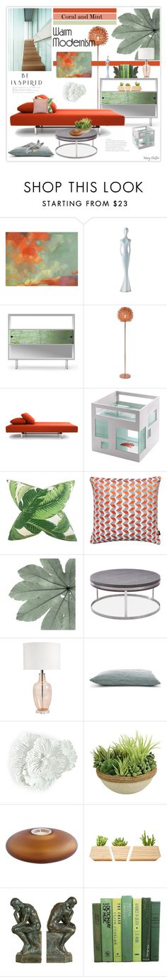 """Warm modernism"" by mcheffer ❤ liked on Polyvore featuring interior, interiors, interior design, home, home decor, interior decorating, MyYour, Spot on Square, Amara and Umbra"