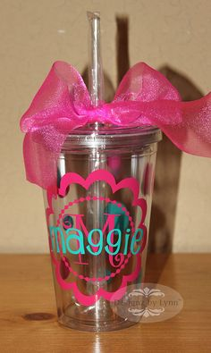 Personalized Tumbler 16 oz Acrylic Cup by DesignzbyLynn on Etsy, $12.00