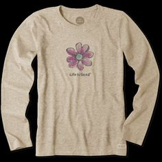 Women's Watercolor Daisy Long Sleeve Crusher Tee